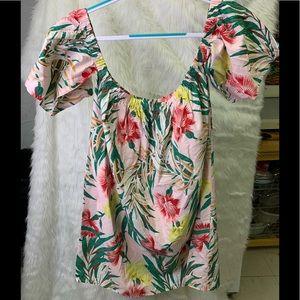 Asos Off The Shoulder Pink Floral Dress  Sz 10